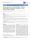 "Báo cáo sinh học: ""Genetic diversity of selected genes that are potentially economically important in feral sheep of New Zealand"""