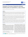 """Báo cáo sinh học: """" Persistence of accuracy of genomic estimated breeding values over generations in layer chickens"""""""