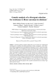 """Báo cáo sinh học: """" Genetic analysis of a divergent selection for resistance to Rous sarcomas in chickens """""""