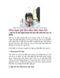 Cho bạn gái lần đầu tiên hẹn hò
