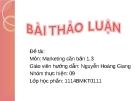 Bài thảo luận: Chiến lược Marketing công ty cổ phần sữa Việt Nam (VINAMILK)