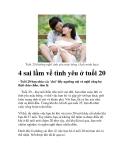 4 sai lầm về tình yêu ở tuổi 20