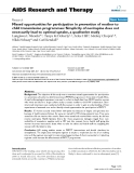 """Báo cáo y học: """"issed opportunities for participation in prevention of mother to child transmission programmes: Simplicity of nevirapine does not necessarily lead to optimal uptake, a qualitative stud?"""""""