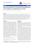 """Báo cáo y học: """"Recent key advances in human immunodeficiency virus medicine and implications for Chin"""""""