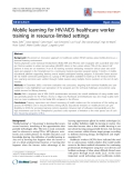 "Báo cáo y học: "" Mobile learning for HIV/AIDS healthcare worker training in resource-limited settings."""