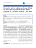 """Báo cáo y học: """"Minocycline fails to modulate cerebrospinal fluid HIV infection or immune activation in chronic untreated HIV-1 infection: results of a pilot stud"""""""