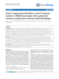 """Báo cáo y học: """"Exome sequencing identifies a novel missense variant in RRM2B associated with autosomal recessive progressive external ophthalmoplegia"""""""