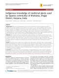 """Báo cáo y học: """"Indigenous knowledge of medicinal plants used by Saperas community of Khetawas, Jhajjar District, Haryana, India"""""""