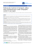 "Báo cáo y học: ""Endovascular treatment of iatrogenic axillary artery pseudoaneurysm under echographic control: A case report"""