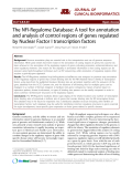 "Báo cáo y học: ""The NFI-Regulome Database: A tool for annotation and analysis of control regions of genes regulated by Nuclear Factor I transcription factors"""