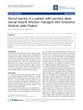 """Báo cáo y học: """"Sternal reentry in a patient with previous deep sternal wound infection managed with horizontal titanium plate fixation"""""""