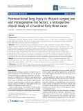 "Báo cáo y học: "" Postresectional lung injury in thoracic surgery pre and intraoperative risk factors: a retrospective clinical study of a hundred forty-three cases"""