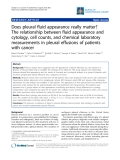 """Báo cáo y học: """"Does pleural fluid appearance really matter? The relationship between fluid appearance and cytology, cell counts, and chemical laboratory """""""
