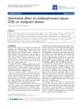 "Báo cáo y học: "" Detrimental effect of cardiopulmonary bypass (CPB) on malignant diseas"""