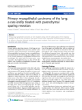 "Báo cáo y học: ""rimary myoepithelial carcinoma of the lung: a rare entity treated with parenchymal sparing resection"""