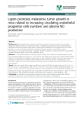 """báo cáo khoa học: """"Leptin promotes melanoma tumor growth in mice related to increasing circulating endothelial progenitor cells numbers and plasma NO production"""""""