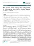 """báo cáo khoa học: """"The research on the immuno-modulatory defect of Mesenchymal Stem Cell from Chronic Myeloid Leukemia patients"""""""