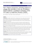 """báo cáo khoa học: """" Part I, Patient perspective: activating patients to engage their providers in the use of evidencebased medicine: a qualitative evaluation of the VA Project to Implement Diuretics (VAPID)"""""""