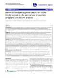 """báo cáo khoa học: """" Individual and setting level predictors of the implementation of a skin cancer prevention program: a multilevel analysis"""""""