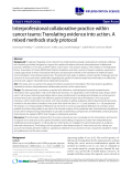 """báo cáo khoa học: """"Interprofessional collaborative practice within cancer teams: Translating evidence into action. A mixed methods study protocol"""""""