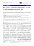 """báo cáo khoa học: """"The trainees' perspective on developing an endof-grant knowledge translation plan"""""""