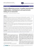 """báo cáo khoa học: """"Factors influencing success in quality-improvement collaboratives: development and psychometric testing of an instrument"""""""