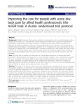 """báo cáo khoa học: """" Improving the care for people with acute lowback pain by allied health professionals (the ALIGN trial): A cluster randomised trial protocol"""""""