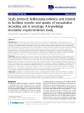"""cáo khoa học: """" Study protocol: Addressing evidence and context to facilitate transfer and uptake of consultation recording use in oncology: A knowledge translation implementation study"""""""