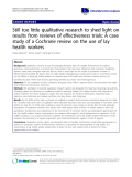 """báo cáo khoa học: """"Still too little qualitative research to shed light on results from reviews of effectiveness trials: A case study of a Cochrane review on the use of lay health workers"""""""