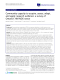 """báo cáo khoa học: """" Community capacity to acquire, assess, adapt, and apply research evidence: a survey of Ontario's HIV/AIDS sector"""""""