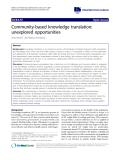 "báo cáo khoa học: ""Community-based knowledge translation: unexplored opportunities"""