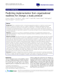 """báo cáo khoa học: """" Predicting implementation from organizational readiness for change: a study protocol"""""""