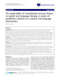 """báo cáo khoa học: """"The applicability of normalisation process theory to speech and language therapy: a review of qualitative research on a speech and language intervention"""""""