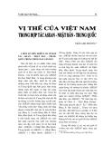 """Báo cáo nghiên cứu khoa học """" Vị thế của Viêt Nam trong hợp tác ASEAN - Nhật Bản - Trung Quốc """""""