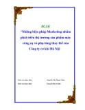 Luận văn: Những biện pháp Marketing nhằm phát triển thị trường sản phẩm máy công cụ và phụ tùng thay thế của Công ty cơ khí Hà Nội