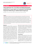 """báo cáo khoa học: """"Oral Ezatiostat HCl (TLK199) and Myelodysplastic syndrome: A case report of sustained hematologic response following an abbreviated exposure"""""""