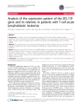 """báo cáo khoa học: """"Analysis of the expression pattern of the BCL11B gene and its relatives in patients with T-cell acute lymphoblastic leukemia"""""""