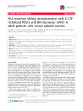 """báo cáo khoa học: """"HLA-matched sibling transplantation with G-CSF mobilized PBSCs and BM decreases GVHD in adult patients with severe aplastic anemia"""""""