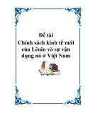 Đề tài: Chính sách kinh tế mới của Lênin và sự vận dụng nó ở Việt Nam