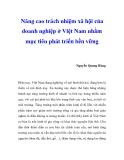 """Báo cáo  nghiên cứu khoa học """" Nâng cao trách nhiệm xã hội của doanh nghiệp ở Việt Nam nhằm mục tiêu phát triển bền vững """""""