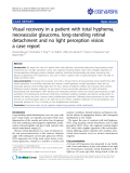 "Báo cáo y học: ""Visual recovery in a patient with total hyphema, neovascular glaucoma, long-standing retinal detachment and no light perception vision: a case report"""