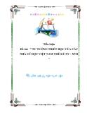 """Đề tài:  """" TƯ TƯỞNG TRIẾT HỌC CỦA CÁC NHÀ SỬ HỌC VIỆT NAM THẾ KỶ XV - XVII """""""