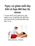 Nguy cơ giảm tuổi thọ khi có bạn đời hay bị stress