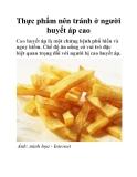 Thực phẩm nên tránh ở người huyết áp cao