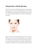 Massage giúp làm se khít lỗ chân lông