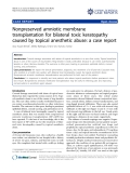 """Báo cáo y học: """"Nonpreserved amniotic membrane transplantation for bilateral toxic keratopathy caused by topical anesthetic abuse: a case report"""""""