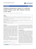 """báo cáo khoa học: """"Unilateral spontaneous rupture of a testicular implant thirteen years after bilateral insertion: a case report"""""""