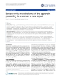 """báo cáo khoa học: """" Benign cystic mesothelioma of the appendix presenting in a woman: a case report"""""""