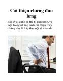 Cải thiện chứng đau lưng