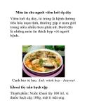 Món ăn cho người viêm loét dạ dày